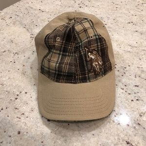 US Polo Assn Cap Hat, Plaid and solid tan